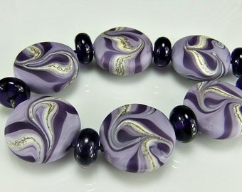 Etched Purple and Silvered Ivory Lampwork Glass Bead Set SRA