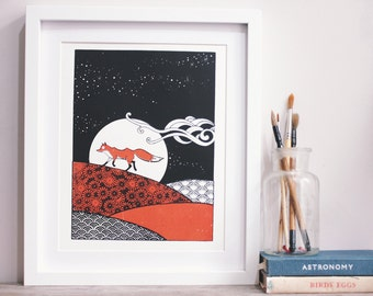 Red fox personalised screenprint for guidance. A4 sized.