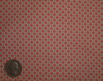 Pink, Teal, White Polka Dots 31142 20 Fabric by Lecien Retro 30's Child Smile