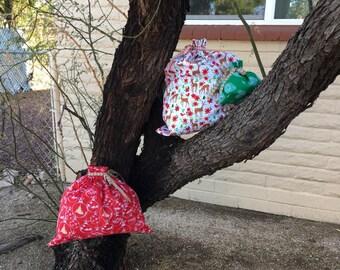 Santa Sacks Christmas Fabric Gift Bag Reusable Holiday Wrapping
