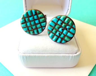 SALE..Zuni Sterling Silver and Turquoise Inlay Cufflinks
