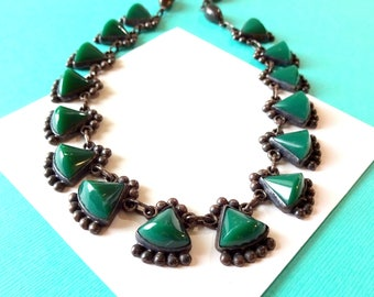 Early Mexican Deco Sterling Silver and Green Stone Necklace