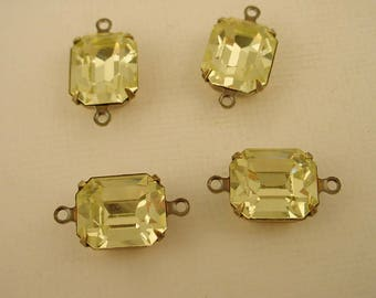 4 vintage glass Swarovski Jonquil yellow  Octagon 12x10 stones  closed  back antiqued  brass ox setting 2 ring connector charms
