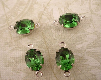 4 vintage Swarovski rhinestone glass green Tourmaline oval 10x8 silver setting 2 ring connectors