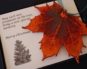 Copper Maple Leaf Ornament, Sugar Maple Leaf, Extra Large, Ornament Gift, Christmas Card, Happy Holiday Gift, First Christmas, ORNA86