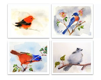 Woodland nursery art Woodland animals art print set Animal watercolor painting Song birds Landry room art Sale 23% Set of 4 LaBerge