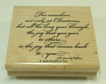 Christmas Wishes Wood Mounted Rubber Stamp By Stampin' Up John Greenleaf Whittier