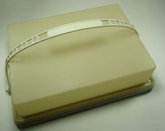 Vintage Tupperware Sheet Cake Carrier Almond