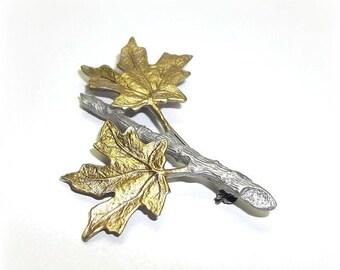 Maple Leaf Leaves JJ pin Jonette brooch pewter gold tone vintage