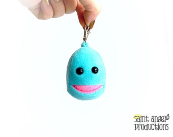 Small Sparkly Aqua Turquoise Monster with Super Tiny Pocket Mouth, Mini Backpack, Zipper Pull, Key Chain Plushie, READY TO SHIP