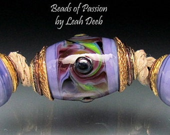 BHB Glass Beads of Passion Leah Deeb - 3pc Rich Purple Big Hole Capped