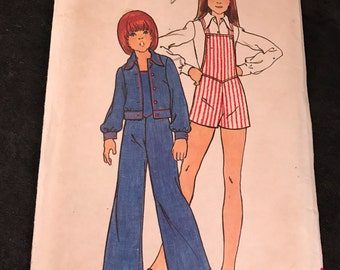 Vintage Butterick #3600 Pattern for Girls Size 12 Overalls and Jacket