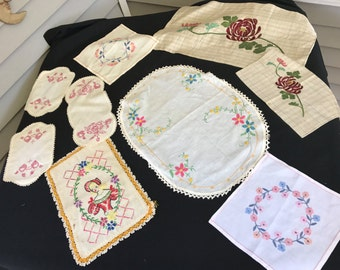 Nine Pieces of Assorted Vintage Embroidery Pieces (Great for Repurposing)