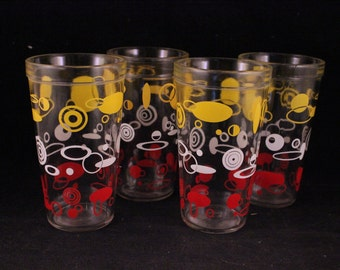 Set of 4 Vintage Drinking Glasses with Red, White and Yellow Geometric Print