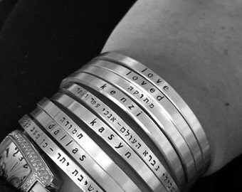 Say What You Want To Say ---The price is for ONE - Say Anything On YOUR cuff-Custom personalized jewelry - SimaG in Boulder Colorado