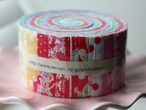 SALE 2.5 inch strips FLOWER SUGAR Sweet Carnvial Collection fabric by Lecien 42 strips