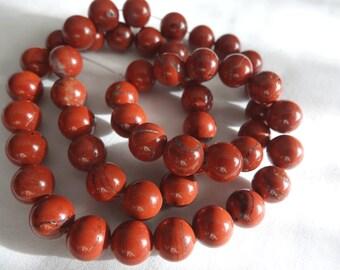 "16"" Strand Natural Red Jasper 8mm Round Dark Rust Red Stone Beads A651"