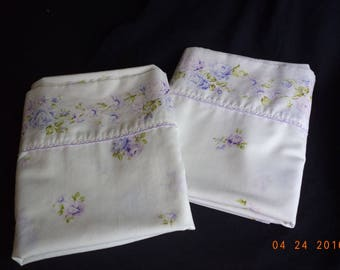Vintage shabby chic lavender / purple / violet roses pillowcases; large body pillow pillowcases in shabby chic lavender roses