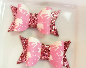 Pink Unicorn Faux Leather and glitter Chunky Bow Felt Hairbow Pink glitter bows 2 total