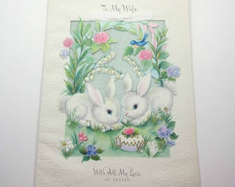 Vintage 1960s Extra Large Hallmark Easter Greeting Card with Two Cute Bunny Rabbits Bird Egg Bird Flowers