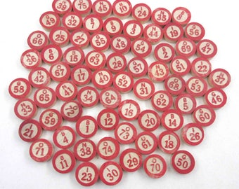 Vintage Wooden Bingo Game Pieces with Red Numbers and Letters Set of 74