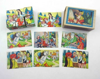Vintage Western Germany Lithograph Fairy Tale Wood Block Cube Puzzle Toy for Children in Matchbox