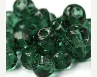 50% OFF SALE Czech Glass Beads Fire Polished Gemstone Donuts 4x6mm Prairie Green (25) CZF238