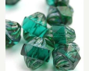 50% OFF SALE Czech Glass Beads Fire Polished Turbine Emerald Picasso 12x9mm (10) CZF720