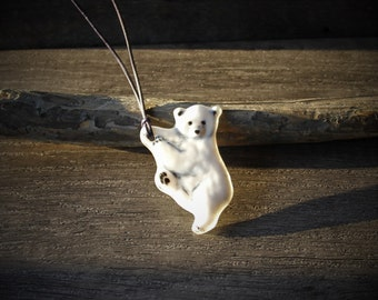 Just hang on- Little Baby polar bear necklace - unique fused glass pendant,