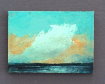 ACEO 1729, 0il painting original landscape, ACEO, miniature art, 100% charity donation, oil painting on cardboard