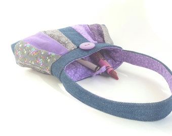 baby girl purse toddler gift. grey purple denim mini first birthday bag. little girl kids fabric purse with pleats