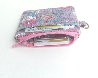 zipper pouch. grey flowers card cash minimalist wallet. earbud case. teen tween. small cute pouch
