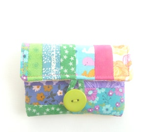 rosary pouch case. catholic girls first communion gift. green pink orange purple spring scrap patchwork ear bud pouch. baptism confirmation