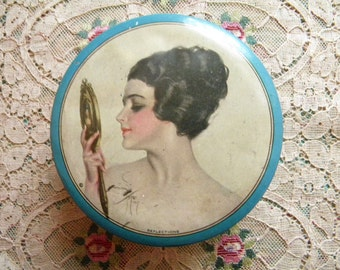 Vintage Tindeco Powder Tin with Harrison Fisher Signed Portrait of Beautiful Woman Reflections 1917