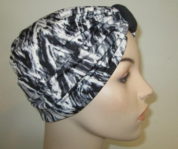 Black, Gray, White Lycra Stretch Knit Turban, Chemo Hat, Snood, Womens Hat Free Ship USA