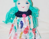Teeny Tiny #71 Jurdie Jean OOAK handmade fabric doll, fabric doll, cloth doll, embroidered doll, birthday, valentines, easter