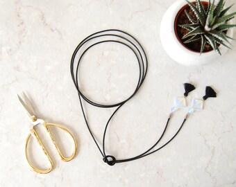 The Geo Moon Chocker / Moonstone / wrap chocker / tassels / cosmic / long necklace / minimalist jewelry / opalite