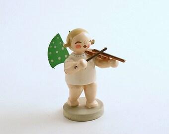 Vintage Christmas Angel Figurine Wendt Kuhn Wood Angel Violin Orchestra Angel Germany