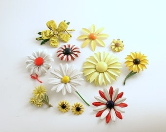 Vintage Enamel Flower Brooch Jewelry Lot