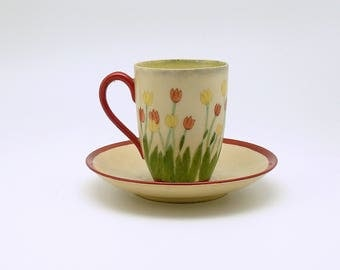 Antique Tea Cup and Saucer Chocolate Cup Jaeger Bavaria Tulips