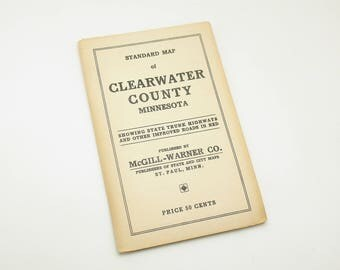 Vintage Map Clearwater County Minnesota