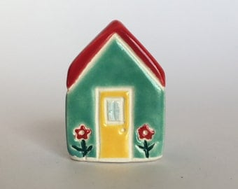 Little flower House Collectible Ceramic Miniature Clay House