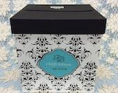 Damask Print Card Box, Black and White Card Holder, Box for Money Cards, Bat Mitzvah Card Box