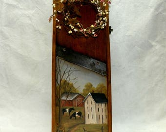 Hand Painted Vintage Kraut Cutter Board Rustic Farmhouse Kitchen Wall Decor
