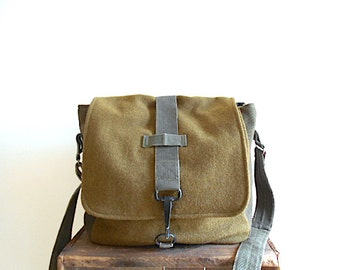 Military canvas & wool messenger, crossbody bag - eco vintage fabrics