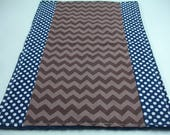 Navy and Brown Chevron and Dots Baby Burp Cloth 11 x 19 READY TO SHIP On Sale
