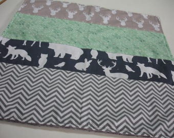 Gentle Woods Baby Receiving Minky Blanket 19 x 20 READY TO SHIP On Sale