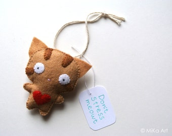Funny Cat Ornament Ginger Tabby Cat Wall Decor Wall Hanging Don't Stress Meowt New Job Gift for Cat Lovers Cute Handmade Stuffed Animal Cat