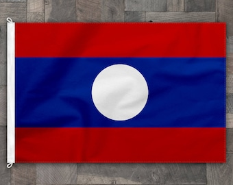 100% Cotton, Stitched Design, Flag of Laos, Made in USA