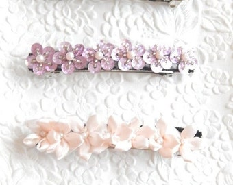 CLEARANCE - Pink beaded barrettes,  hair barrette, pink ponytail holder , pink hair accessory, pink beaded barrette, pink floral barrette,